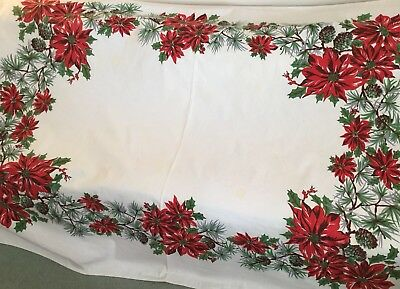 """Vintage Christmas Printed Poinsettia Tablecloth - 72""""x56"""" -Cutter or Use  Cotton"""