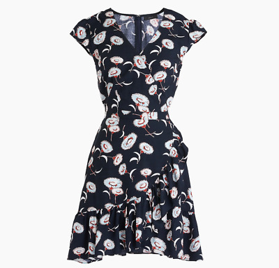 J.Crew Mercantile faux-wrap mini dress in floating floral, Size 14