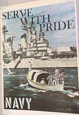 "70'S Vintage USN Navy Recruiting Poster SERVE WITH PRIDE  35"" x 25"""
