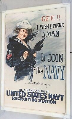 "Vintage USN Navy Recruiting Poster WISH I WERE A MAN Official Repro. 37"" x 25"""