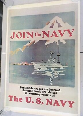 "70'S Vintage USN Navy Recruiting Poster JOIN THE NAVY  35"" x 25"""
