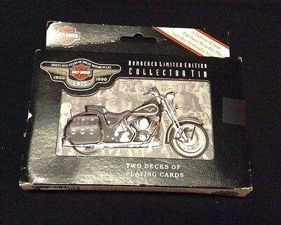 Harley Davidson 95Th Anniversary Collectible Tin & 2 Decks Playing Cards-Limited