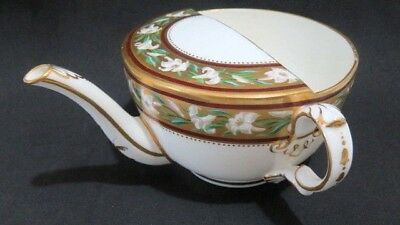 ANTIQUE Vintage Invalid Feeder Porcelain China Pap Boat Cup Lily & Gold Paint #