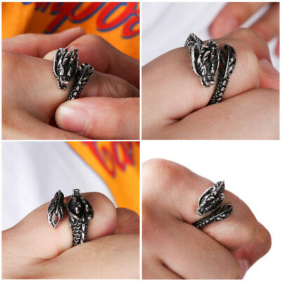 In The Dark Men Jewelry Adjustable Opening Dragon Ring Ancient Silver Luminous