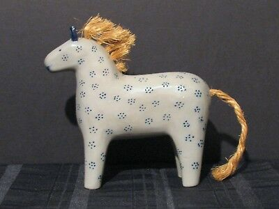 Vintage Eldreth Salt Glazed Pottery Horse 7 In. Long Dated 1999 Excellent Cond