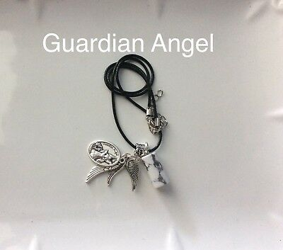 Code 367 Wrap around me my Guardian Angel white Howlite Infused Charged Necklace