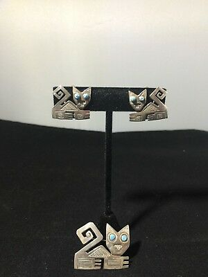 Old Cuzco Sterling Silver Peruvian Cat Pin with Matching Earrings Signed