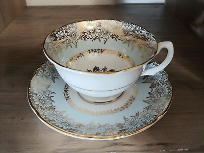 Elegant Royal Grafton Floral Pattern - Blue and Gold Tea Cup and Saucer Set
