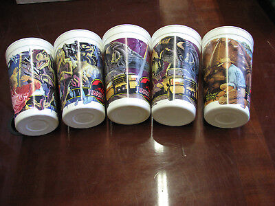 Jurassic Park McDonalds Cups, 5 in all Very Clean.