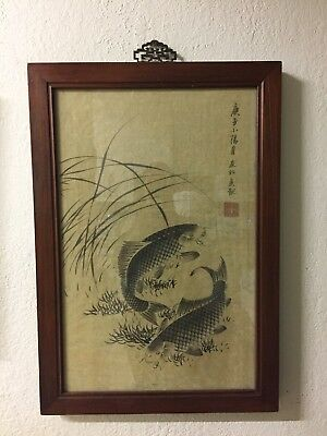 Japanese Carp Hand Painted Antique 19th Century Framed Painting