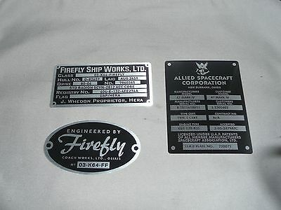 Firefly / Serenity Engineered By Firefly Coach Works,and BIULD  PLAQUE   NEW