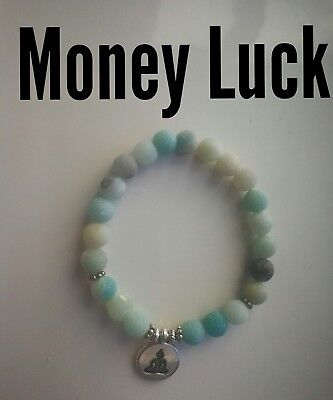Code 410 Money Luck Success Amazonite Infused Bracelet Prosperity Buddha Reiki