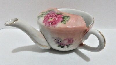 Vintage Invalid Feeder Porcelain China Pap Boat Cup Pink & Flowers -CRACK-