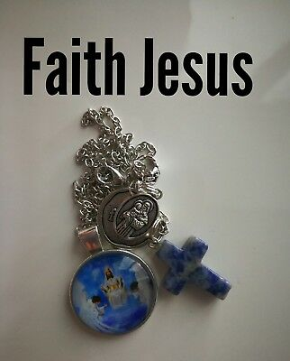 Code 359 Faith in Jesus to keep me safe sodalite crucifix cross Infused Necklace
