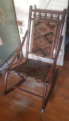 Antique Wood Rocking Chair Tapestry Carpet Bent Wood