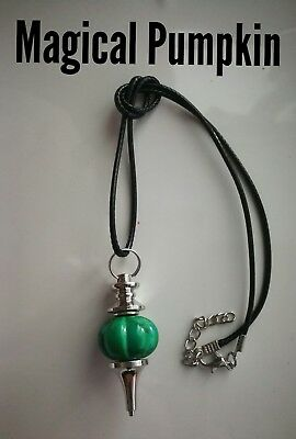 Code 897 Magical Pumpkin Turquoise Infused Pendulum Necklace Spiritual Archangel