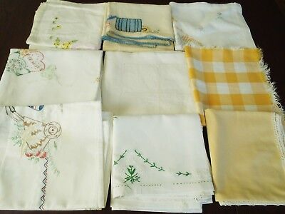 Lot of 9 Antique Handmade & hand embroidered small linen tablecloths