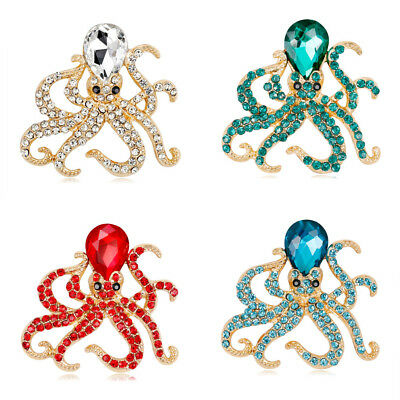 Luxury Full Crystal Rhinestone Gold Plated Octopus Brooch Pin For Women Brooches