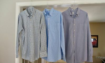 Peter Millar Lot Of Three Nice Casual Dress Shirts Plaid & Gingham Check L