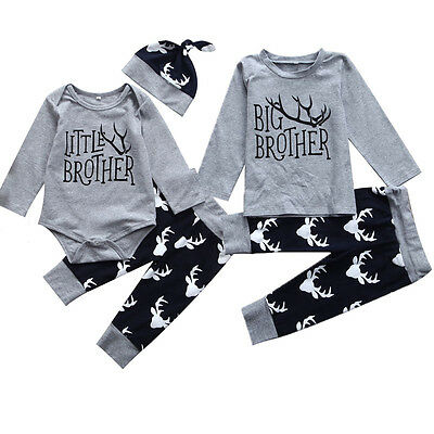 US Stock Infant Baby Little Brother Romper Big T-shirt Top Matching Outfits