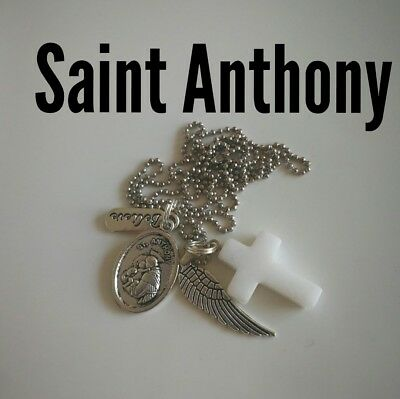 Code 501 Saint Anthony white Jade cross Infused necklace Spiritual Prosperity