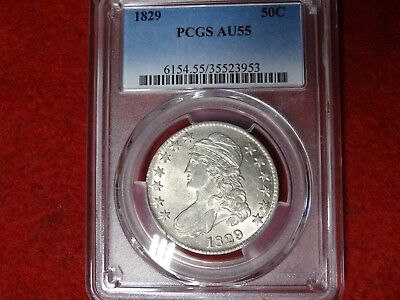 1829 Capped Bust Half Dollar ,PCGS AU55, Toned, Ultra PQ,Loaded with mint luster