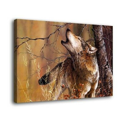 With Nature Wolf Animal Paintings HD Canvas Print Home Decor Wall Art Picture