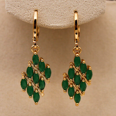 18K Gold Filled - Emerald Jade Parallelogram Tiger Eye Ball Lady Dangle Earrings