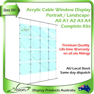 Acrylic Cable Window Display Real Estate Retail Shop Front Signage Floor Ceiling