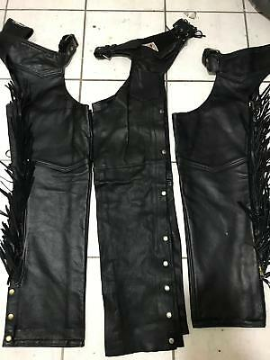 3 California Creation Black Leather Fringe Motorcycle Riding Chaps Pants Sz M/L