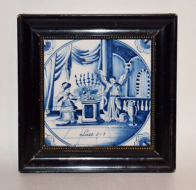 Antique Framed Delft Tile Blue Religious 17th OR Early 18th Century Luke 1:11-17