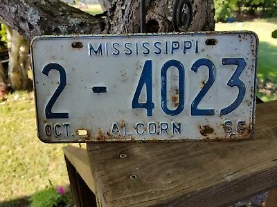 Vintage Rustic 1966  Mississippi  Alcorn County License Plate# 2 - 4023