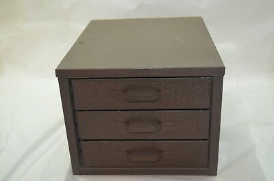 VINTAGE METAL CABINET SMALL PARTS TOOL CHEST 3 DRAWERS MACHINIST MECHANIC d