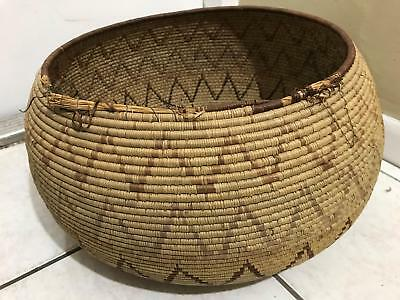 Vtg Ethnic Artisan Hand Woven Tight Weave Straw Water Basket ? Carrying Bowl