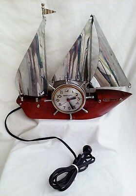 Vntg Mastercrafters Ship 'Flying Cloud': Clock Works Great; Ship Needs Minor TLC