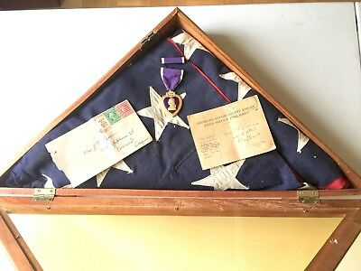 WWI,  PURPLE HEART Signed, Interment Flag, Postcard & envelope dated 1918