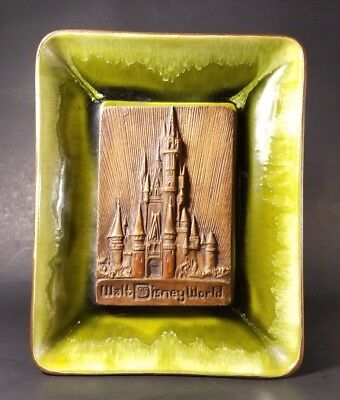 Vintage Walt Disney World Ashtray - Candy Dish 1970, Green Flames, Great Cond