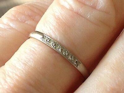 18k 18ct white gold ring with 6 small diamonds - plain band, one owner, size O