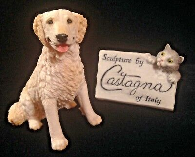 "NOS Castagna Golden Retriever Dog Figurine 5"" Tall Italy Sculpture Statue"