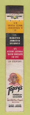 Matchbook Cover - Topsy's Chicken Black Americana Forest Hills LI NY 10 Strike