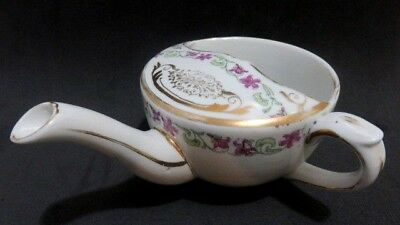 Vintage MAW Invalid Feeder Porcelain China Pap Boat Cup Gold Trim Raised Flowers