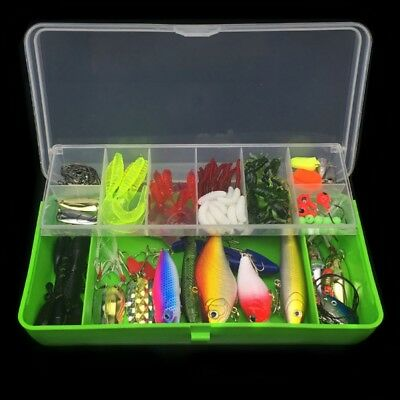 101pcs Fishing Lures Hook Line Cutter Tackle Box Multi Function Tool Bait Kit