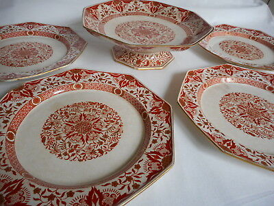 Mintons Denmark 4 Plates & Footed Platter Red Gold Pattern Craft or Decoration