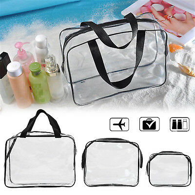 Hot 3pcs Clear Cosmetic Toiletry PVC Travel Wash Makeup Bag Organizer for Travel