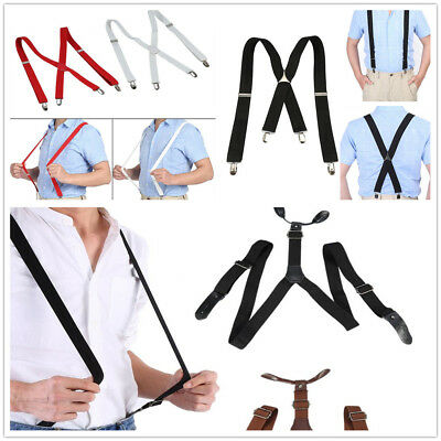 Adjustable Elastic Braces Y-Shape / X-Back Trousers Clip-on Suspenders Unisex