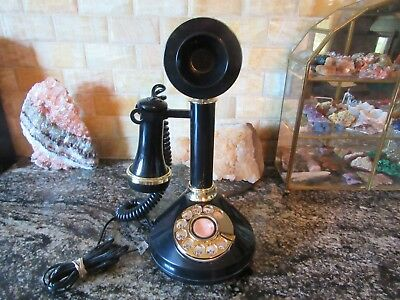 Vintage Black Candlestick Rotary dial Telephone Cameo Picture, Works