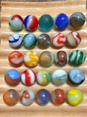 """6/8---very nice group of (25) old vintage marbles, 5/8"""" very good to mint"""
