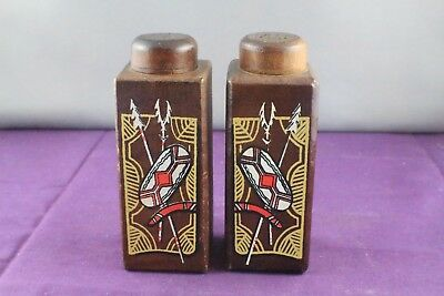 Wooden Salt and Pepper Shaker Set with Aboriginal Prints