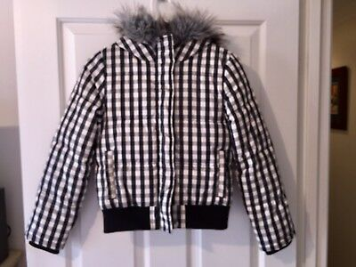 Country Road Girls Hooded Puffer Bomber Jacket With Faux Fur Hood Size 10-11