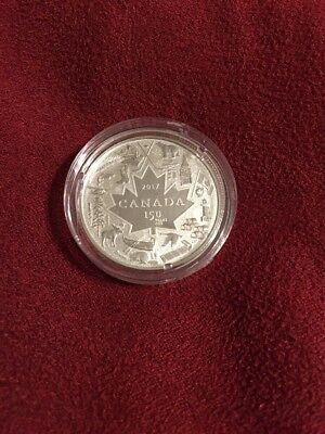 2017 $3 Canada 1/4Oz Silver 150Th Anniv Heart Of Our Nation In Plastic Capsule
